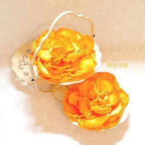2pc Large Yellow-Gold Satin Flower Set